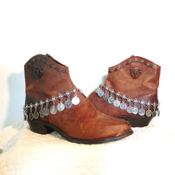Rustic Boot Bracelet Gypsy Coin Choker Coin Jewelry Bohemian Hippie Boho Style Sundance Southwest