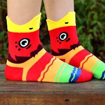 Colorful Parrot Bird Shaped Animal Short Cotton Socks for Women
