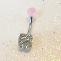 Bellybutton ring, dice belly ring with crystals and pink UV ball 14ga