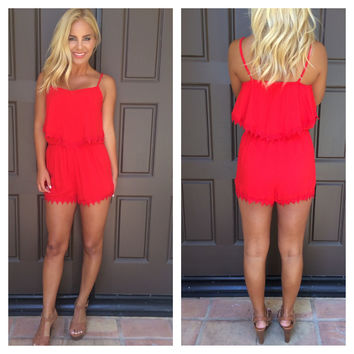 All Shook Up Lace Detail Romper - CRIMSON