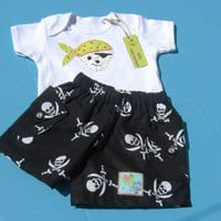 Baby pirate shorts and Onesuit, baby pirate outfit, baby pirate costume, baby shorts, baby stuff, baby boy clothes,