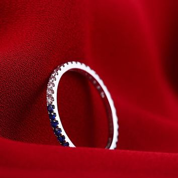 Full Eternal Women Solid 14k White Gold Engagement Wedding Ring .41ct Natural Diamonds Sapphires Party Anniversary Band