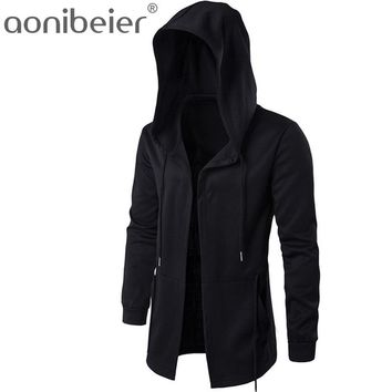 Aonibeier Mens Black Cloak Hooded Sweatshirt