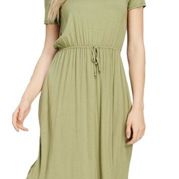 Midi Dress With Waist Strap Detail and Pocket