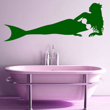 Wall Decals Vinyl Sticker Art Mural Bathroom Decor Spa Girl Mermaid Decal Kj593