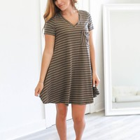 THE STRAIGHT & NARROW DRESS - DARK TAUPE