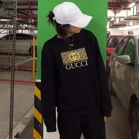 """""""Gucci"""" Unisex Fashion Letter Logo Embroidery Long Sleeve Thickened Cotton Pullover Sweater Casual Tops"""