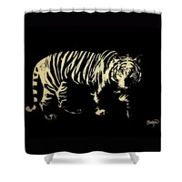 Gold Tiger Shower Curtain