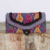 Twin Print Braided Wallet In Purple