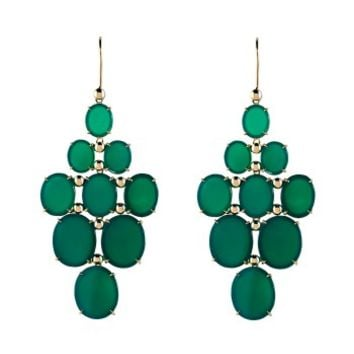 Etername Carmin Grappe Drop Earrings - Green and Gold Earrings - ShopBAZAAR