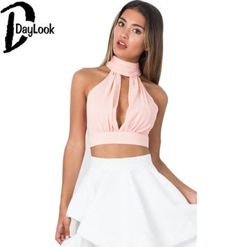 DayLook 2016 Summer Back Lace Up Bow Knot Crop Top Pink Plunge High Neck Sexy Deep V Backless Lace Pleated Halter Top 3 Colors