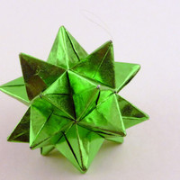Green Star Ornament Origami Star Paper by CreativeLifeByEmily