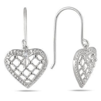 Antique Engraved Diamond Heart Earrings in Rhodium Plated Brass