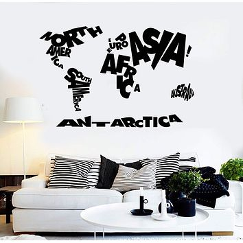 Vinyl Wall Decal World Map Atlas Geography School Stickers Unique Gift (ig3658)