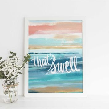 That's Swell Beach Quote Painting Blue + Pink Wall Art Print