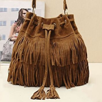 Womens Hot Popular Faux Suede Fringe Tassel Shoulder Bag Handbags Messenger Bag