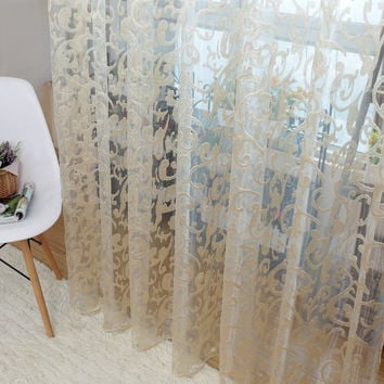 European style jacquard leaf design tulle fabrics sheer curtains for balcony