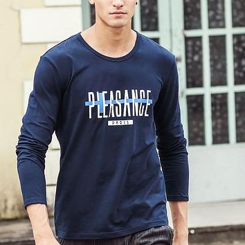 Autumn fall Long Sleeve t Shirt Male Luxury Fashion Men Clothing blue Tees T-shirt