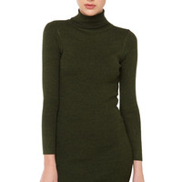 Turtleneck Long Sleeve Sweater Dress - Olive/Black