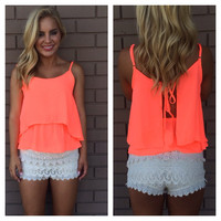 Neon Coral Tie Open Back Tank