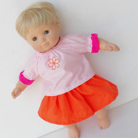 "Clothes PINK Orange Skirt Handmade For Bitty Baby 15"" or 18"" American Girl Doll"