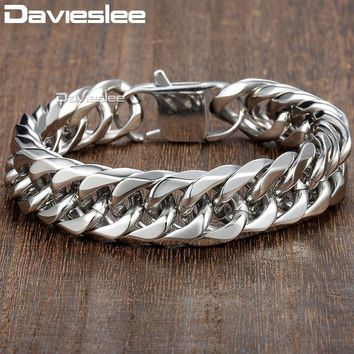 Davieslee 15mm Men's Bracelet Silver Color Curb Cuban Link 316L Stainless Steel Wristband Male Jewelry DLHB289