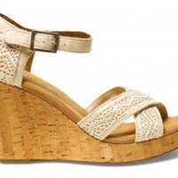 Natural Crochet Women's Strappy Wedges | TOMS.com