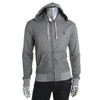 Polo Ralph Lauren Mens French Terry Heathered Zip-Front Hoodie