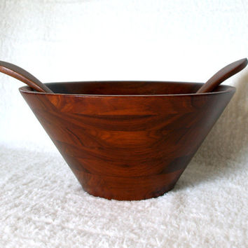 DANISH MODERN DESIGN Mid Century Walnut Bowl Large Teak Wood Salad Bowl Server Set with Wooden Serving Utensils Simple, Minimalist