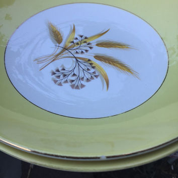 2 vintage Century Service Autumn Gold Wheat design soup/ cereal coupe bowls, mid century china bowls, yellow and white wheat pattern bowls