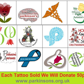 Parkinsons  Awareness Temporary Tattoos