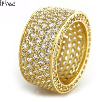 Iftec Shiny! Mens Hip Hop Cz Ring Gold Silver Iced Out Bling Aaa Zircon Rhinestone Crystal Copper Rings Fashion Punk Jewelry