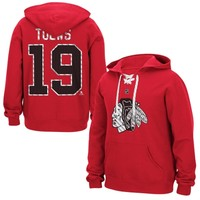 Mens Chicago Blackhawks Jonathan Toews Reebok Red Lace Up Name & Number Hockey Hoodie
