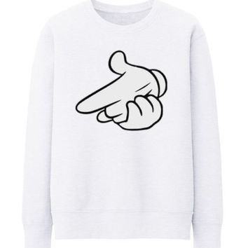 Air gun Drake OVO OWL Mickey Mouse hands Unisex Crewneck Sweatshirt Top Funny - WHITE