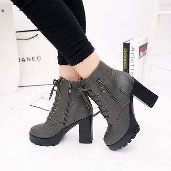Shoes woman Spring 2018 New High-heeled Martin boots Zip Women's boots Cross straps Boots Thick with Fashion Classic