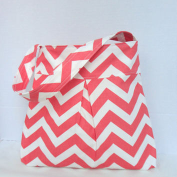 Pleated Hand Bag, purse or medium diaper bag in salmon/white chevron print.  Spring purse original Design