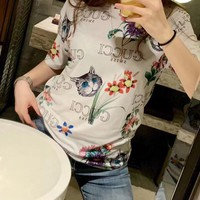 """Gucci"" Woman Casual  Wild Fashion Letter  Cartoon Printing Loose Short Sleeve Tops"