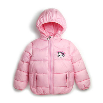 2-7Y  Children Winter Outerwear Clothing Girls Hello Kitty Cartoon Jackets Coat Baby Kids Christmas Costume Clothes