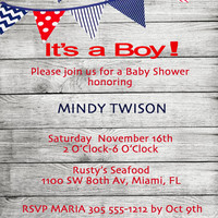 Baby Shower Invite - Let's go Sailing! 5 X 7-1 Sided