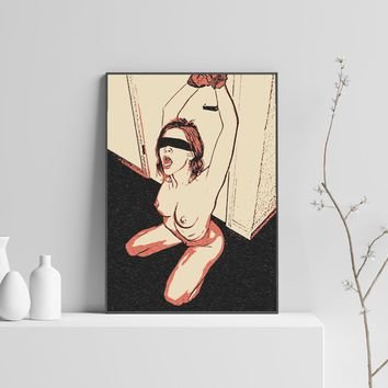 Fetish Erotic Art 200gsm poster - Wide open and waiting