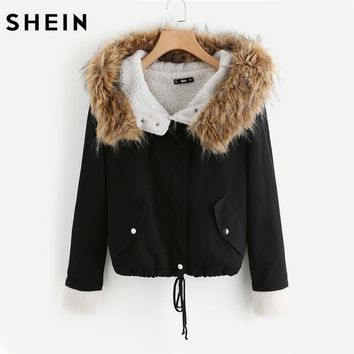 SHEIN Fleece Lined Jacket With Faux Fur Trim Hood Cotton Outerwear Coats Casual Black Winter Hooded Womens Coat