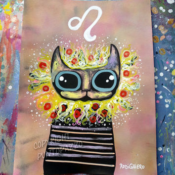Zodiac sign Leo,gift,cat decor,artwork on paper,lion art,Acrylic paint & watercolors,funny gift for pet lovers,