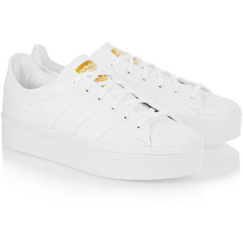 adidas Originals | Superstar Rize faux leather-trimmed canvas sneakers | NET-A-PORTER.COM