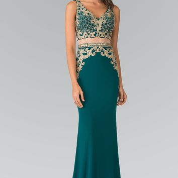 Crop top 2 piece prom dress with gold lace  gl2334