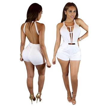 Hot model fancy shorts bodysuit women hollow out white jumpsuit women romper fashion club playsuit S3079