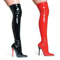 "Women's 5"" Heel Stretch Thigh Boot W/Inner zipper"
