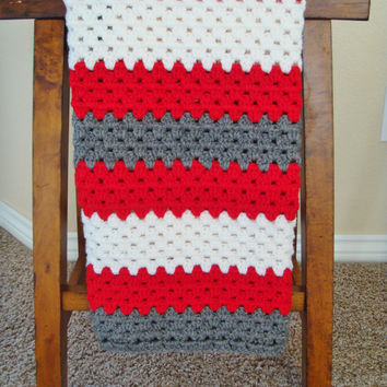 Crochet Baby Blanket - Sock Monkey Blanket - Baby Blanket for Boy or Girl - Baby Shower Present - Baby Afghan - Granny Sqaure Blanket