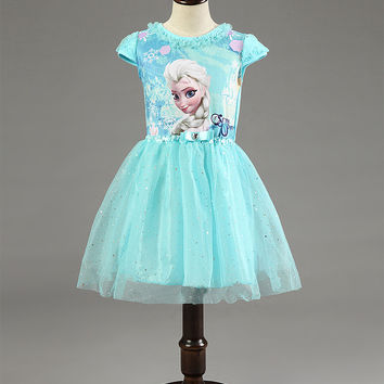 New Elsa Anna Dress Girls Dress Cosplay Party Dresses Princess Children Baby Kids Baby Vestidos toddler Dresses