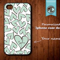 Personalized iPhone Case - Plastic or Silicone Rubber Monogram iPhone 4 4S Case Cover - K005