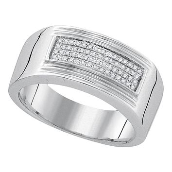 Sterling Silver Men's Round Diamond Rectangle Cluster Band Ring 1/6 Cttw - FREE Shipping (US/CAN)